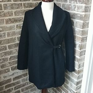 Zara Black Wool Chic Lined Pea Coat
